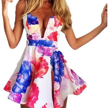 Tp Sky Women's Sexy Floral Print Deep V-neck Backless Strap Party Dress