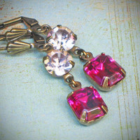 Vintage Rhinestone Earrings Bride Wedding Fuchsia by rewelliott