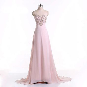 Prom Dresses Strapless Beaded Pink Long Casual Dress Prom Gown