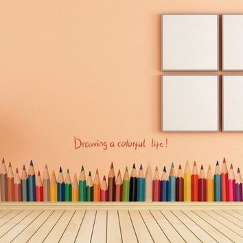 New Fashion Drawing A Colorful Life pencil waist line paint wall sticker home decor Skirting Line Door Background Stair kid room