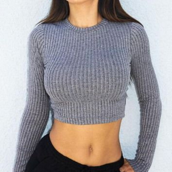 Cross Straps Ribbed Knitted Sweater in Gray or Black