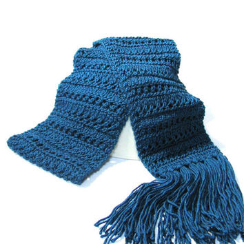 Hand Knit Scarf,  Peacock Blue Scarf,  Lacy Scarf, Turquoise Scarf, Knit Scarf, Knitted Scarf, Winter Scarf, Womens Scarf,