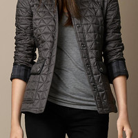 Leather Detail Quilted Jacket