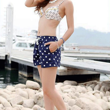 Lady Girl Women Quick-drying Beach Stars Pattern Printed Summer Surfing & Beach Shorts New Arrival