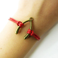 bronze wish bones red ropes bracelet women rope jewelry bangle 1151A