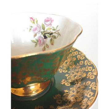 Royal Albert Teacup and Saucer Set, Royal Albert Bone China, Teacup Set, Green Teacup, Gold Teacup, English Fine China