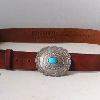 Brown Leather Belt Large Silver Buckle Size Large Turquoise Bead Southwest Style Cowgirl Accessories Vintage