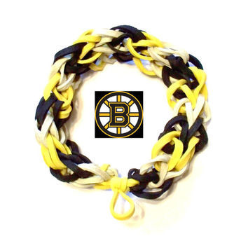 NHL Boston Bruins Sports Bracelet - Gold Black and White Rubber Bands - Hockey Spirit Wear, Boston Strong Colors, Stanley Cup