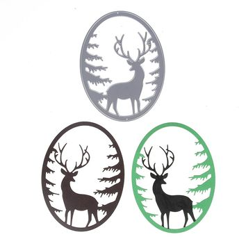 93*122mm Customized Deer Forest Cutting Dies Metal Scrapbooking Embossing Stencil Die Craft For DIY Cards Album Book Decoration