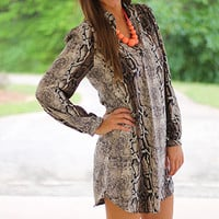 Snake Around Tunic, Black/Brown