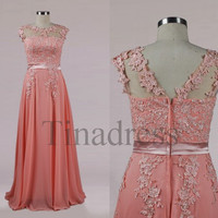 Custom Pink Applique Beaded Chiffon Long Wedding Dresses Bridal Gowns Elegant Prom Dresses Evening Gowns Party Dresses Homecoming Dresses