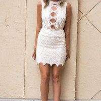 Nova Mini Crochet Dress- Natural