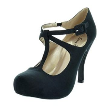Dream Pairs Office 02 Women S Cly Mary Jane Double Ankle Strap Almond Toe High Heel