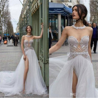 Discount 2019 Elegant Julie Vino Beach Wedding Dresses High Slit Split Lace Appliques Sexy Boho Bridal Gowns Beaded Backless Wedding Dress Ball Gowns Cheap Beautiful Wedding Gowns From Beautydesign, $142.02| DHgate.Com