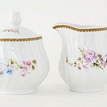 Timeless Rose Porcelain Sugar & Creamer Set