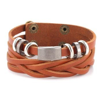 Detailed Simple Leather Fashion Toggle-Clasp Wrap Bracelet for Men's by Ritzy