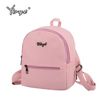 Soft leather women casual small packet preppy style backpacks