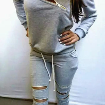 Gray Zipper Accent Sweatshirt and Pants