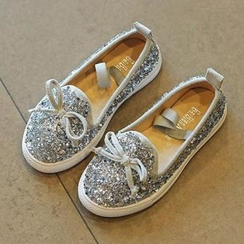 SILVER MERMAID GLITTER JEWELED SUEDE SLIP-ON FLAT BOW TIE BLING TENNIS SHOES