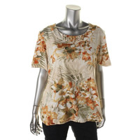Alfred Dunner Womens Tropical Print Embellished Pullover Top