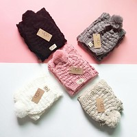 """UGG"" Classic Trending Stylish Knit Warmer Hat Cap Scarf Two Piece Set"