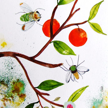 Still Life Original Watercolor Painting Ink Fruits Bees Nature Kitchen Decor Wall Art Animal Leaves Green Orange Contemporary Art