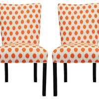 Orange Lauren Side Chairs, Pair, Dining Chair Sets