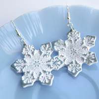 White snowflakes polymer clay earrings