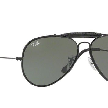 NEW RAY BAN RB3422Q 9040 58mm Outdoorsman Black Leather G15 Aviator SUNGLASSES