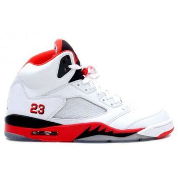 ONETOW Beauty Ticks Jordan Retro 5 Fire Red 136027-120 White Fire Red-black (women Men Gs Girls)