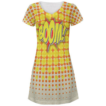 BOOM Comic Book Super Hero All Over Juniors V-Neck Dress
