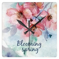 Blooming Spring Square Wall Clock