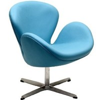 Wing Leather Lounge Chair in Baby Blue
