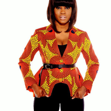 Jessica- Orange Peplum  Blazer, African clothing, african print jacket african fashion