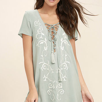 Down in Kokomo Dusty Sage Embroidered Lace-Up Dress