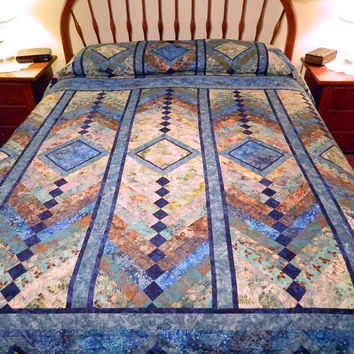 Handcrafted Queen size French Braid Batik Quilted Spread