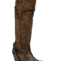 Corral Vintage Studded Harness Cowgirl Boots - Snip Toe - Sheplers