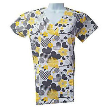 Valentine's Hearts Love Scrub Tops Size XS-2XL New Nursing Medical Holiday Print