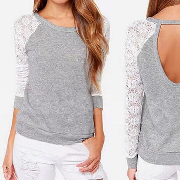 Plus Size S-2XL Fashion Women T-Shirt Long Sleeve Sexy Lace Crochet T-Shirt Embroidery Knitted Slim Tops = 1946220932