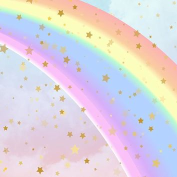 Printed Rainbow Star Watercolor Clouds Backdrop - 6384
