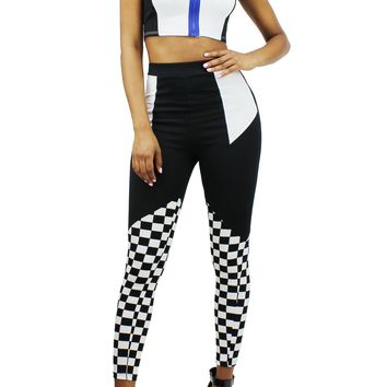 Racing Girl 2  Pcs Set Mock Neck Contrast Zipper Crop Top + High Waist Pants EDD1807