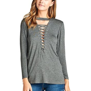 Lace up front fashion knit tee