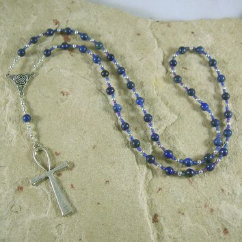 Egyptian Prayer Bead Necklace in Lapis Lazuli with Ankh