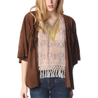 Brown suede jacket with fringing