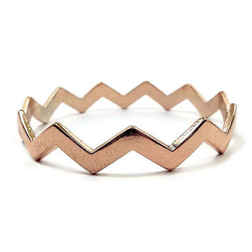 Vintage Bangle Bracelet Copper Plated Rose Gold Color Zig Zag Design Retro 1980s 80s Mod Boho Jewelry