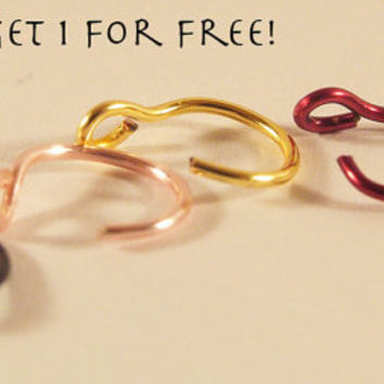 Fake nose ring - buy 4 get 1 FREE - no pierce piercing - fake piercing - fake nose hoop ring - different colors - nose stud