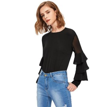 Black Ruffle Long Sleeve Women Shirts Mesh Insert Tiered Bell Sleeve Office Ladies Tops Elegant Blouse