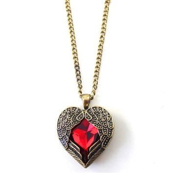 Red Gem Crystal Heart Angel Wing Long Chain Pendant Necklace
