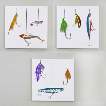 Set of 3 Fishing Lure Wall Canvases - 14x14 Fishing Wall Art, Fishing Lure Print, Outdoor Decor, Cabin Decor, Cabin Art, Fishing Lure Art