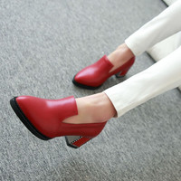 Pu Leather Pointed Toe Women Pumps Medium Chunky Heel 4566